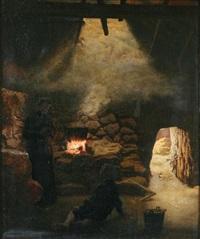 interieur med kvinde med binde[ ]hose og dreng foran ilsted by aage sofus exner